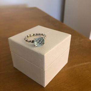 Retired Pandora Blue Topaz Ring Size 6